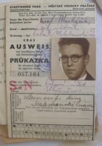 Pavel Macháček and his card of traffic in  Prague in 1939