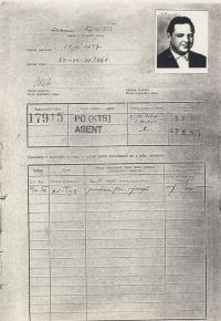 Agent Antonín Mikeš who was responsible for monitoring Vladimír Hučín