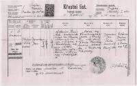 Křestní list Jaroslava Hnátka - kmotr J.J.Pála