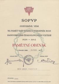 Pamětní odznak z října 1948