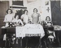 Her mother Vera Vostrá (standing in the middle) during her apprenticeship for a seamstress in 1936