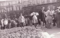 Protests against the communist regime in the upper part of Wenceslas Square, May 1, 1989. Rudolf Bereza took part in this demonstration.