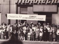 "Rudolf Bereza and Tomáš Hradílek on May Day 1987 with the banner ""Charter 77 calls for civic courage"""