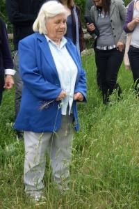 Röschen Schmidt in the village she was born (Pyrzany)