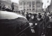 Funeral of Jan Palach, 1969 – Jakub Trojan is on the right, behind the daughter-in-law of Mrs Palachová