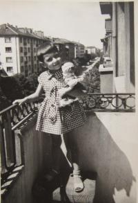 Gabriela Bairová - Stoyanová as a girl in Sofia