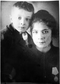 With her younger brother - 1944 ?