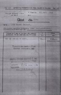 Účet za obědy z věznice v Plzni, kam byl Karel Bažant umístěn po pokusu o útěku z republiky, září 1948