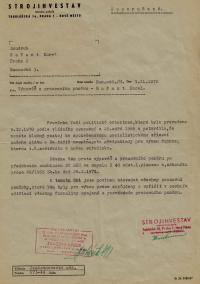 """Job termination statement from Strojinvestav, due to the fact that the witness exhibited a lack of """"klapoklides"""" ƒ– an abbreviation standing for having a """"positive attitude to the people's democratic system"""", 1970"""