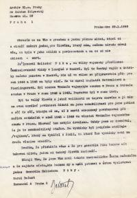 Karel Bažant's letter, in which he requested a street in Prague be renamed to honour General Píka, 1990