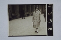 Aunt walking in Prague streets before the war.