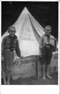 Želivka - Scout Camp 1938 (on the left Vl. Červenka)