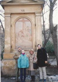 Stations of cross on Petřín (Andrej with daughter Alexandra, brother Alexander and sister in law Šárka)