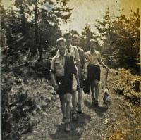 Ihor Popovych on a Plast wood excursion in Krynytsia 1944