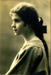 A young Natalia Popovych, a member of Plast