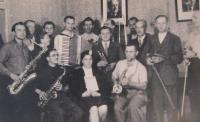The band from Velký Újezd in the 1950s - Bohumil Bednařík is the bearded man standing fourth from left