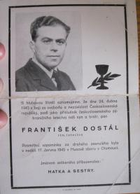 The death notice of František Dostál