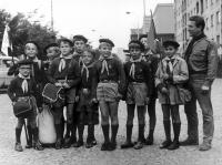 18th Cub Scout pack and their leader Bronislav Malý. Petr Blažka fourth from the left. 1969.