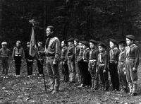 18th Cub Scout pack and their leader Bronislav Malý. Scout camp in Jezírky in 1970.