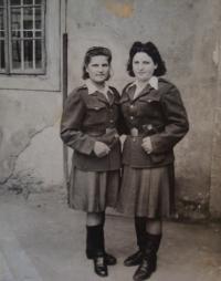 Naděžda Brůhová (on the left), Libuše Maňhalová, Brandýs nad Labem, 20.7.1945