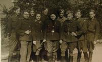 Naděžda Brůhová (4th from the left), Josef Holec (1st from the right), 1945