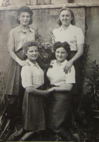 From the left: Evženie Vyletělová - Luhačková, Naděžda Brůhová, Libuše Nováková - Maňhalová, Olga Černá - Sitařová