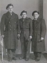 Hazebrouck, 24.4.1945; from the left are Josef Adámek, Příhoda and Kubica
