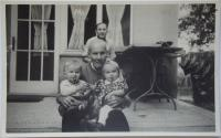 Jarmila Dvořáková with her grandfather at the end of world war II.