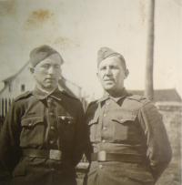 Josef Babák with his father Josef, 1945