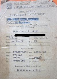 The first identity card Hugo Drásal after the war