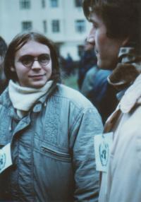 Ondřej Černý as organizer of demonstration on Škroupovo square