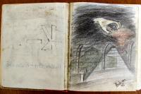 Illustration by Yehuda Bacon in a memoirs manuscript of his friend Sinai (Wolfi) Adler