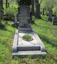 The grave of a member of the financial guard, Stanislav Majzlík, who was shot in Nové Vilémovice