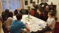 Vilém Prečan during the interview with the students from the project Stories of our neighbours