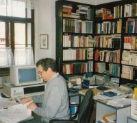 1987; in his office; Schwarzenberg Palace