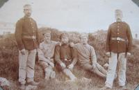 On the right-hand side the father František Aust while guarding Russian prisoners in Linz during the First world war