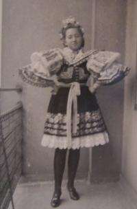 Daruše Burdová wearing the Kyjov area folk costume