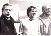 Husband of Kristina Jan Cerny with his brother Adam and Vaclav havel. November 1989