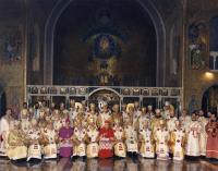 Bishop Pavlo Wasylyk among the other hierarchs during the celebration of the 400th anniversary of the Union of Brest in Rome, 1996.  On photo: Bishop Pavlo Wasylyk sits third on the right.