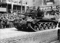 Prague, 30. 5. 1945, Otto Grant left on the tank