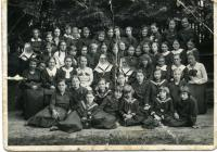 Students and teachers of the Teaching Institute of the Basylian Sisters. The first on the right side sits Mrs. Maria Mykytka. Lviv, 1926.