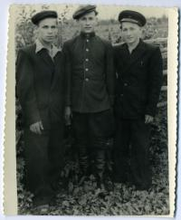 """Bohdan Klymchak with his friends in the special settlement (station """"64 km""""), the 1950s."""
