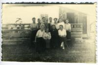 """The Klymchak family with neighbors in a special settlement (station """"Durmin""""). District named after Lazo, Khabarovsk region, [1952-1956]"""