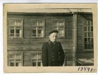 """Bohdan Klymchak, student of the Magadan mining technical college. Near a school in a special settlement (station """"Durmin""""). District named after Lazo, Khabarovsk region, USSR, 1954."""