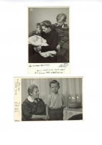 Kamil Černý in 1950 and 1956 with mother and grandmother