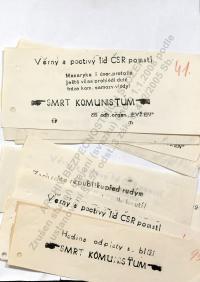 """Leaflets spread by the group """"Evžen""""."""