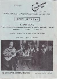 A poster promoting a music performance of Mr. Nova organized in one of the most prestigious clubs in London
