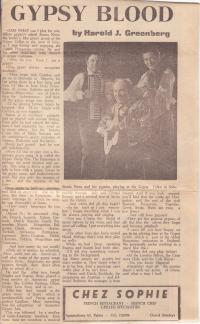 A newspaper article about Mr Stanley Novaand his band in the Majorca daily bulletin from 1969