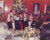 Stanley Nova (right) and his band in the Casanova club playing for prince Philip, the Duke of Edinburgh