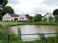 Domy č.p. 12 a 13  před návesním rybníkem ve vsi Vřesce